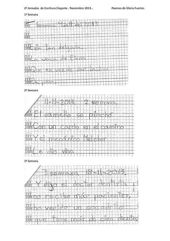 Escritura elegante con fosfenos: aprender a escribir, alumno 3